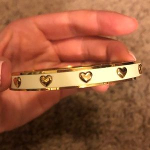NWOT Coach gold and white heart bangle bracelet